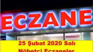 Mersin Merkez, Tarsus, Silifke, Mut, Gülnar, Erdemli, Bozyazı ve Anamur İlçelerinde 25 Şubat 2020 Pazartesi nöbetçi eczaneler