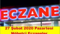 Mersin Merkez, Tarsus, Silifke, Mut, Gülnar, Erdemli, Bozyazı ve Anamur İlçelerinde 27 Şubat 2020 Pazartesi nöbetçi eczaneler