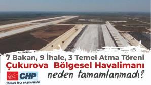 """Tarsus Chp Tarafından, Çukurova Havaalanı İnşaatında """"128 Milyar Dolar Nerede?"""" Uçurtması Uçuruldu"""