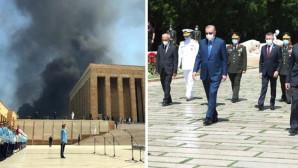Erdoğan'ın Anıtkabir'i ziyareti sırasında endişe veren görüntü! Hastane inşaatında çıkan yangın gökyüzünü siyaha boyadı